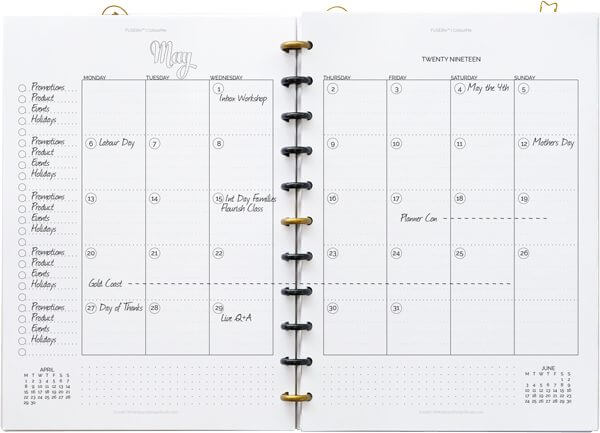 One size doesn't fit all! You don't have to make your life fit your planner, have a planner that works the way you do. These are just a few ways you can use the FUSElife monthly calendar spreads. | whitespacedesignstudio.com #flourishwithwhitespace #digitalplanner #plannerprintables #planning