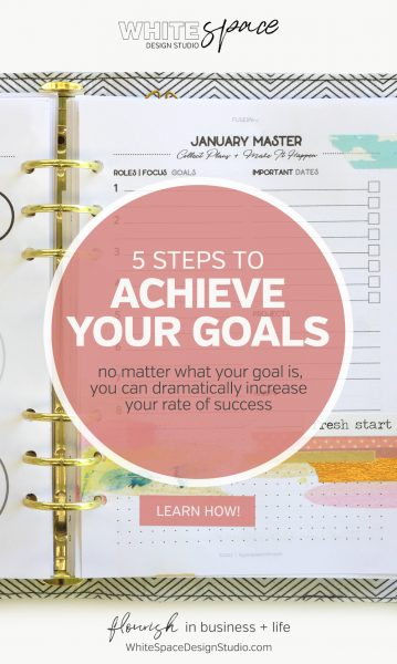 Use these 5 steps to achieve your goals >>> find out how to stay on track to significantly increase your rate of success. | whitespacedesignstudio.com #flourishwithwhitespace #plannerprintables #planning #productivity #habits #routines #fuselifeplanners