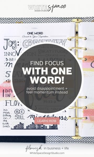 How to find focus using one word to guide you in the year ahead >>> Be inspired and create a vision board with FUSElife Classic Planner pages in Kikki,K binder. | whitespacedesignstudio.com #flourishwithwhitespace #plannerprintables #planning #productivity