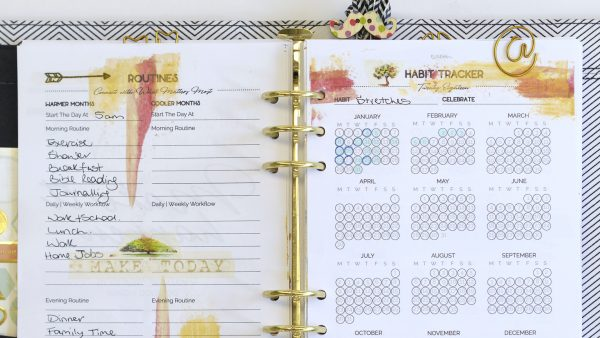 Kikki.K planner spread using FUSElife Classic printable planner pages of routines and a habit tracker