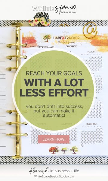Learn how to reach your goals with a lot less effort by creating habits that help you achieve them. | whitespacedesignstudio.com #flourishwithwhitespace #plannerprintables #planning #productivity #habits #routines #goalsetting