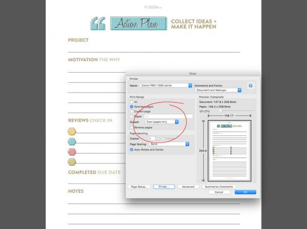Screen shot of printing planner pages the easy way to create a planner unique to you!