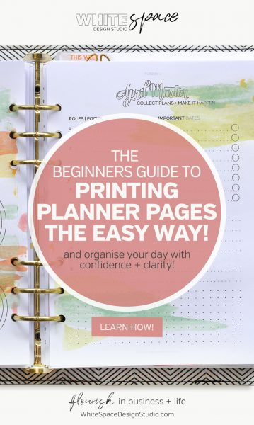 Learn how to print planner pages the easy way and create a planner unique to you! Download your free journal card and record your printer settings.