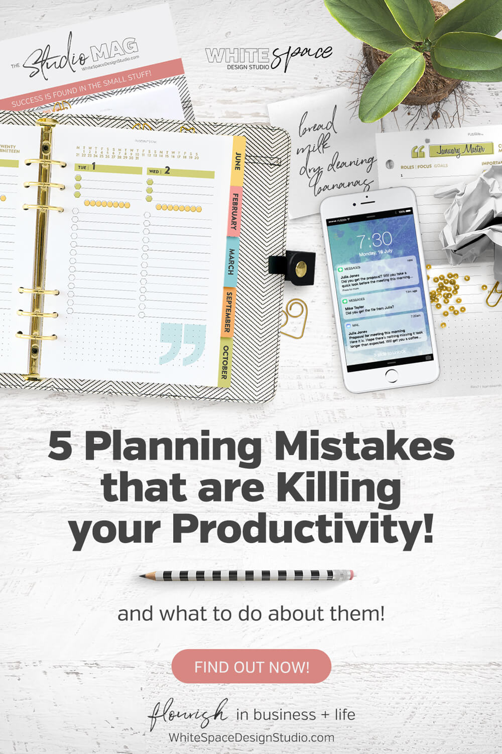 Find out if these 5 planning mistakes are killing your productivity and what to do about them >>> start using these tips today! | whitespacedesignstudio.com #flourishwithwhitespace #plannerprintables #planning #productivity #habits #routines #todolists #gettingthingsdone