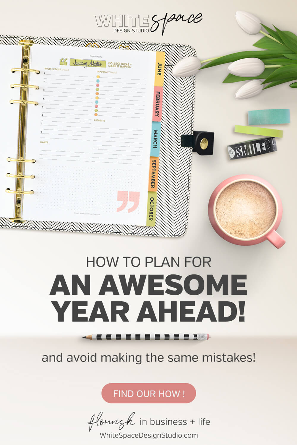 Use this simple 3 step process to avoid the same mistakes and frustrations, and plan for an awesome year ahead! | whitespacedesignstudio.com #flourishwithwhitespace #plannerprintables #planning #productivity #endofyearreview #goalsetting #newyear