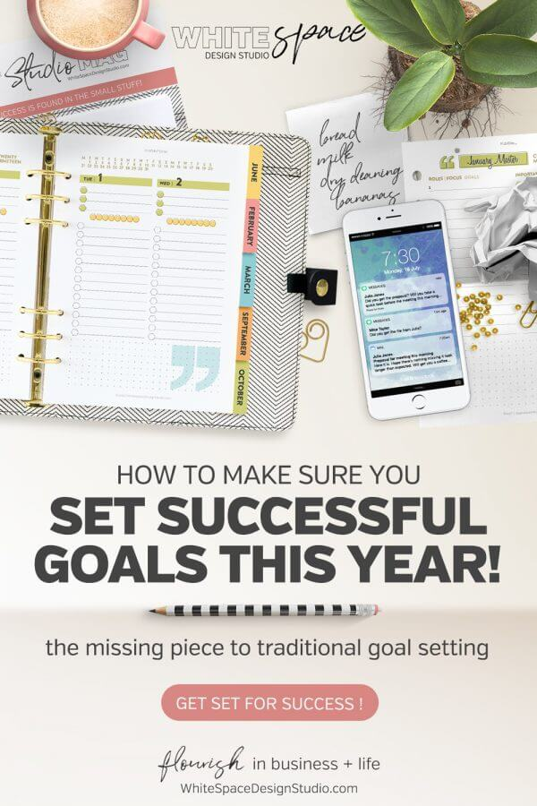 Traditional planning methods are often missing the most important part of goal setting. Ask yourself these three simple question to make sure you set yourself up for success. | whitespacedesignstudio.com #flourishwithwhitespace #plannerprintables #planning #productivity #goalsetting #smartgoals