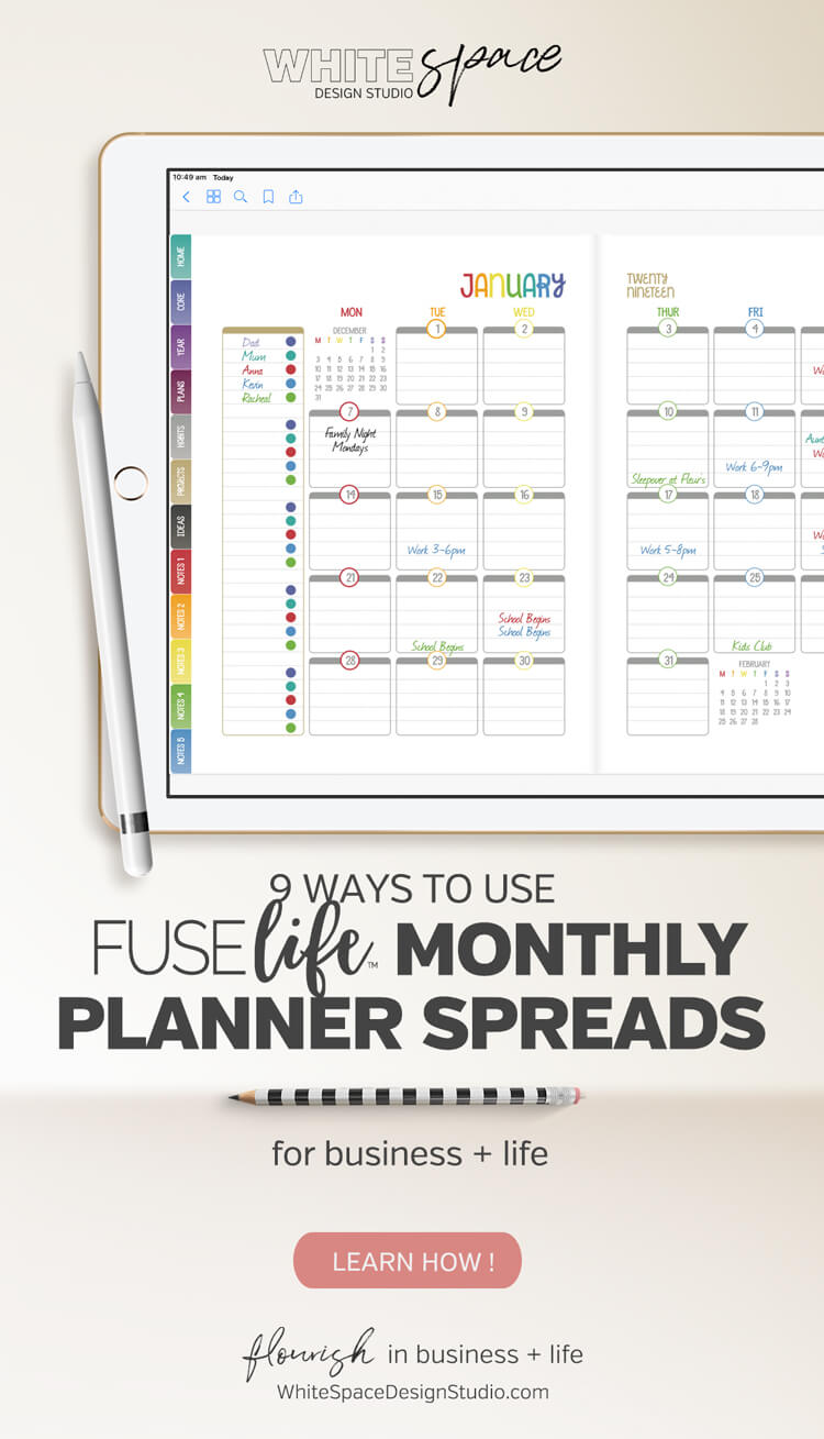 One size doesn't fit all! You don't have to make your life fit your planner, make your planner work the way you do. These are just a few ways you can use the FUSElife monthly calendar spreads.