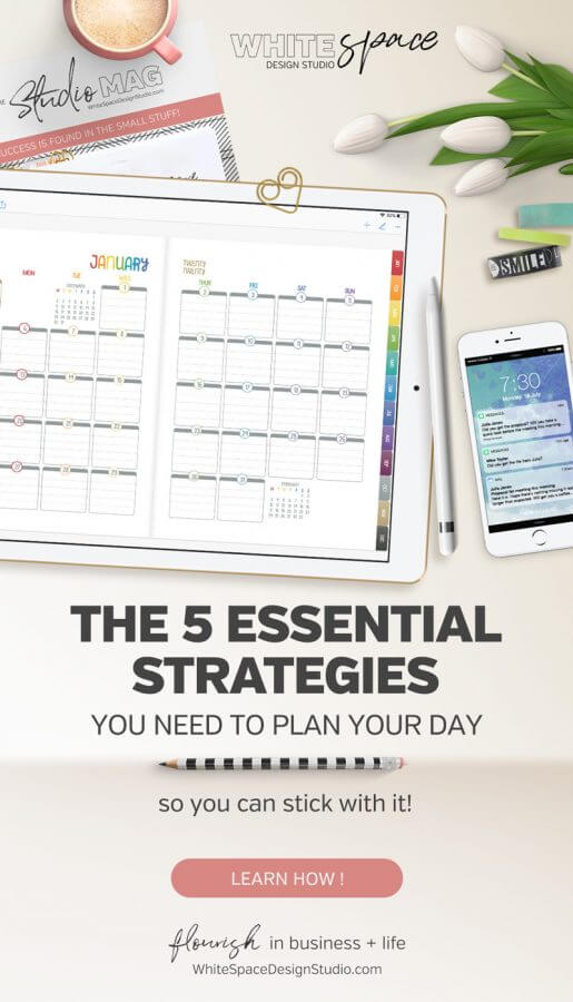 Planning your day with these 5 planning strategies makes it easier stick with it and enjoy getting things done without feeling stressed out, worn out and ending up burnt out.